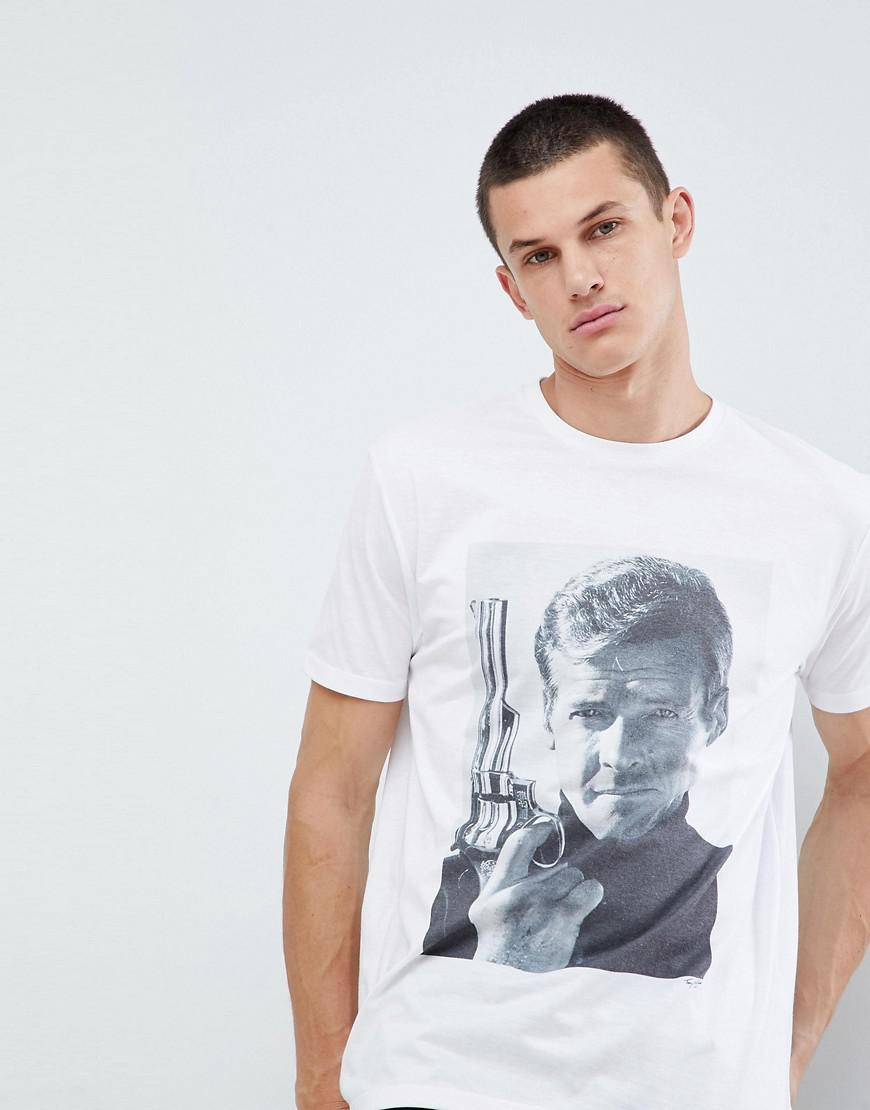 DESIGN Roger Moore James Bond relaxed t-shirt - White Asos Particular Discount Best Store To Get Cheap New Free Shipping Inexpensive 9FNhSBUTH