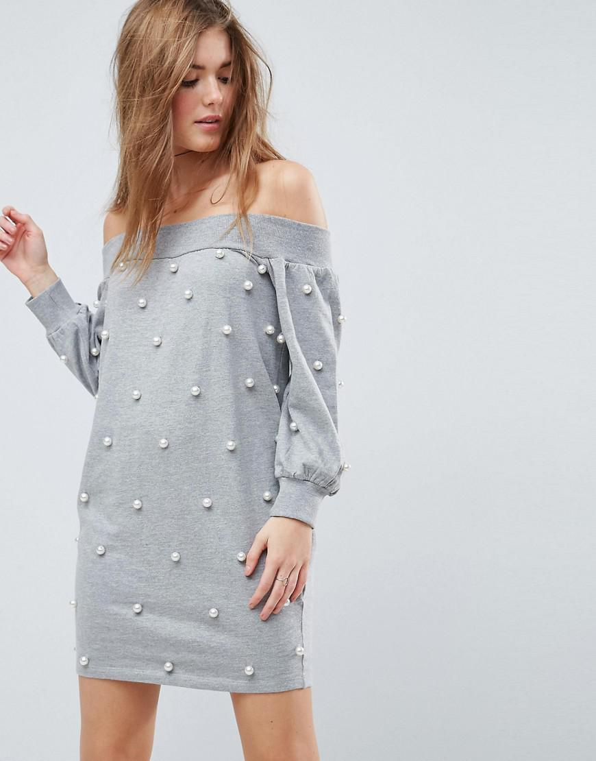 6f585200f97 Lyst - ASOS Asos Off Shoulder Mini Sweat Dress With Pearl Details in ...
