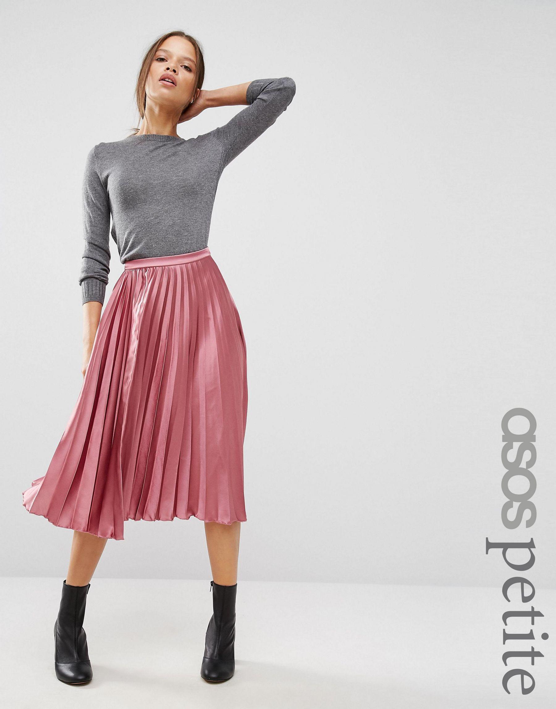 Asos Petite Satin Pleated Midi Skirt In Pink Lyst