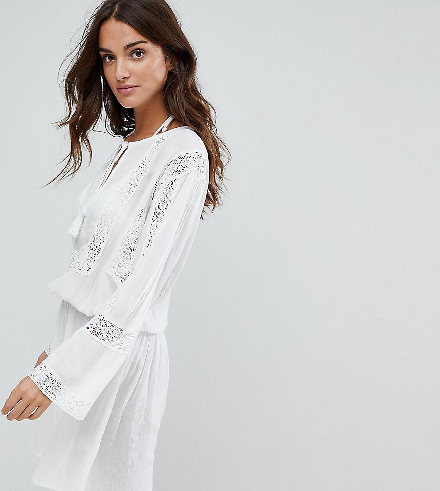 Akasa Plage Au De Blanc En Crochet Smocke Lyst Robe Coloris RxwZ7Upq7