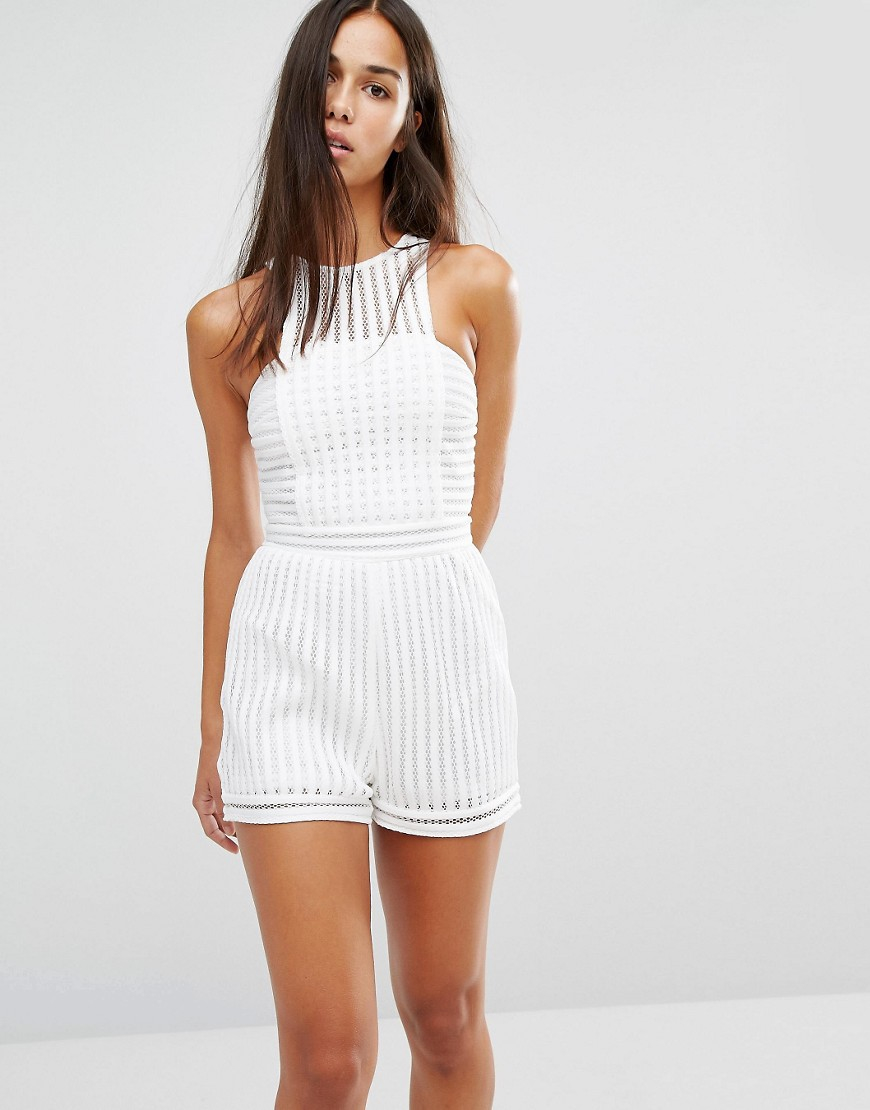 6aba02fccef0 Lyst - Missguided Mesh Playsuit in White