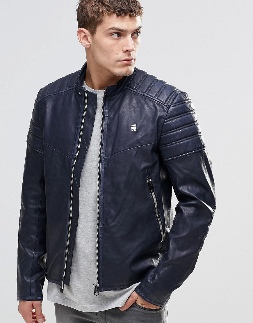 g star raw suzaki pu leather jacket in blue for men lyst. Black Bedroom Furniture Sets. Home Design Ideas