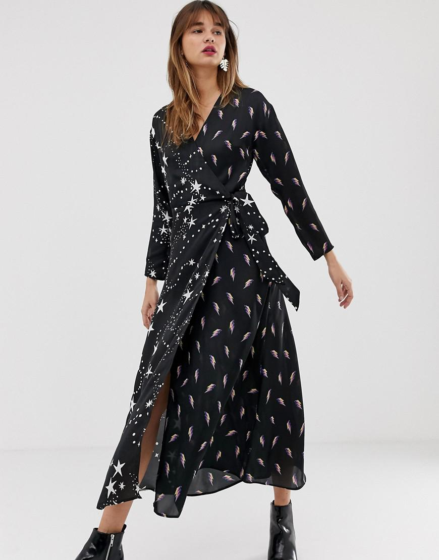 89d22885fd Lyst - ASOS Wrap Maxi Dress In Star And Lightning Bolt Print in Black