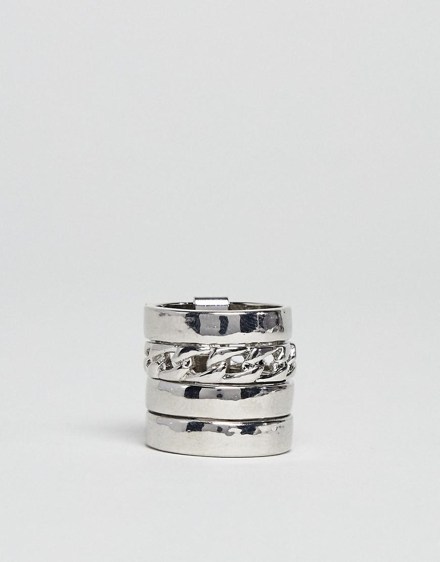 ASOS Denim Ring With Chain Insert In Silver in Metallic for Men