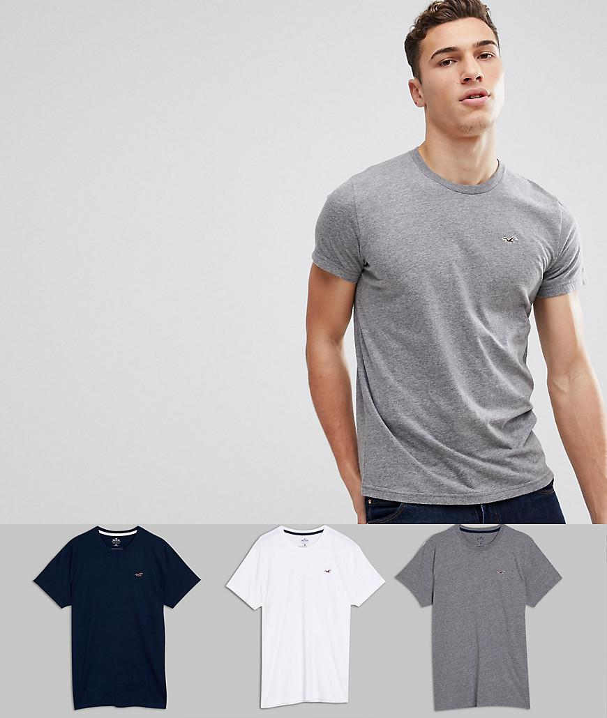47ff4b206 Hollister 3pack T-shirts With Crew Neck In White/grey/navy for Men ...