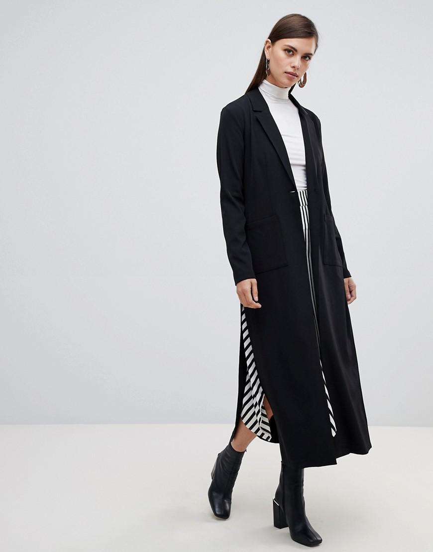 46d3f3f3d08 Lyst - UNIQUE21 Unique 21 Long Line Single Button Coat in Black
