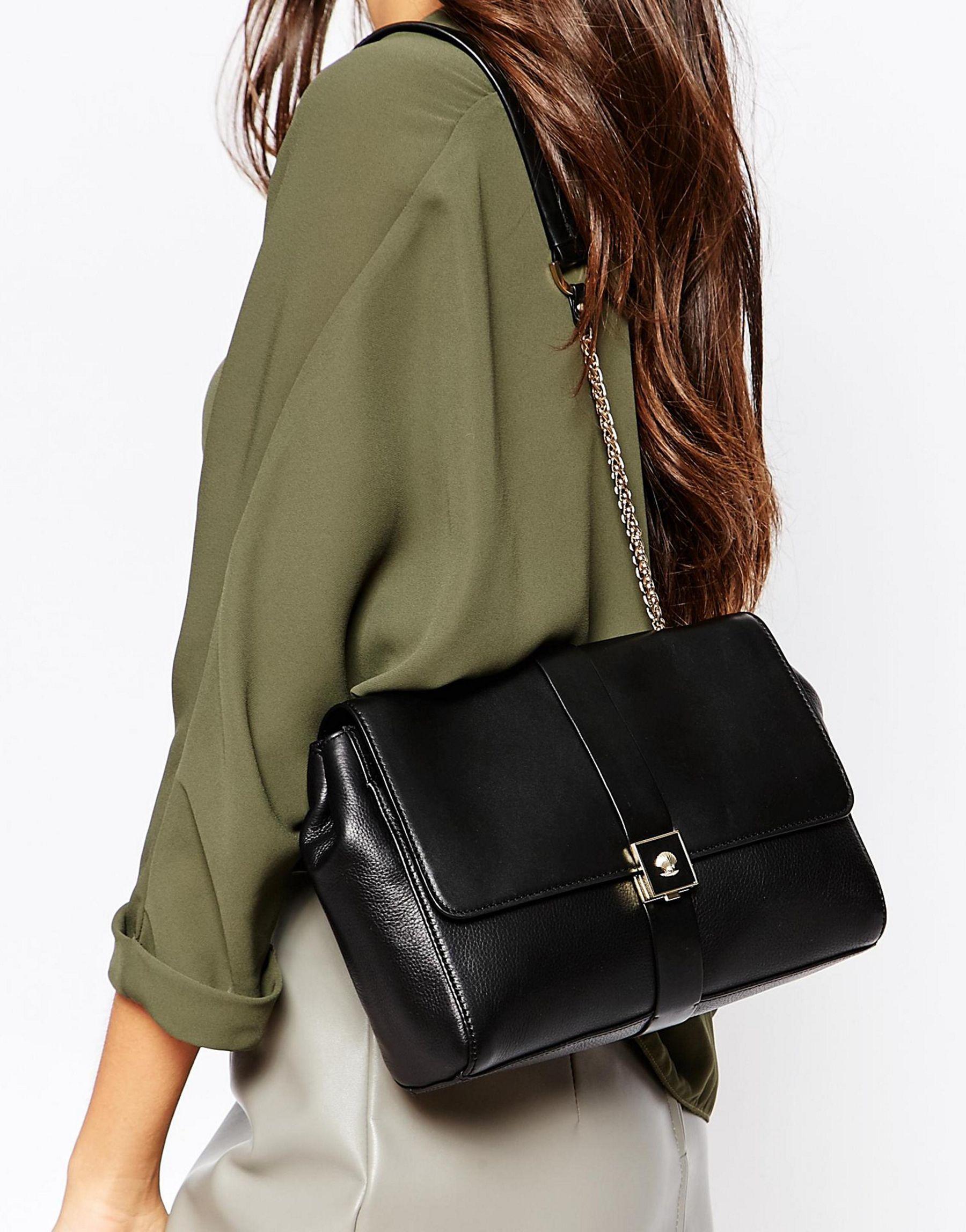 Leather Flap Over Shoulder Bag In Black