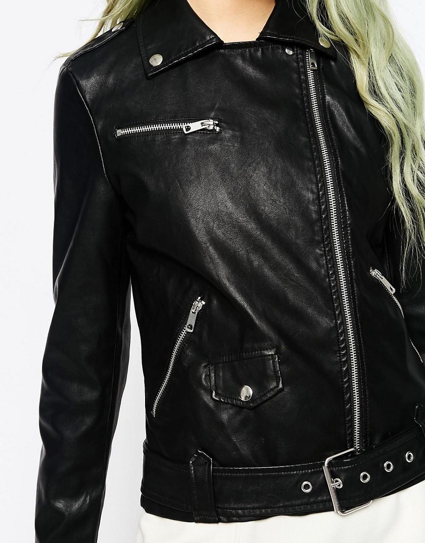 vero moda risk faux leather biker jacket in black lyst. Black Bedroom Furniture Sets. Home Design Ideas