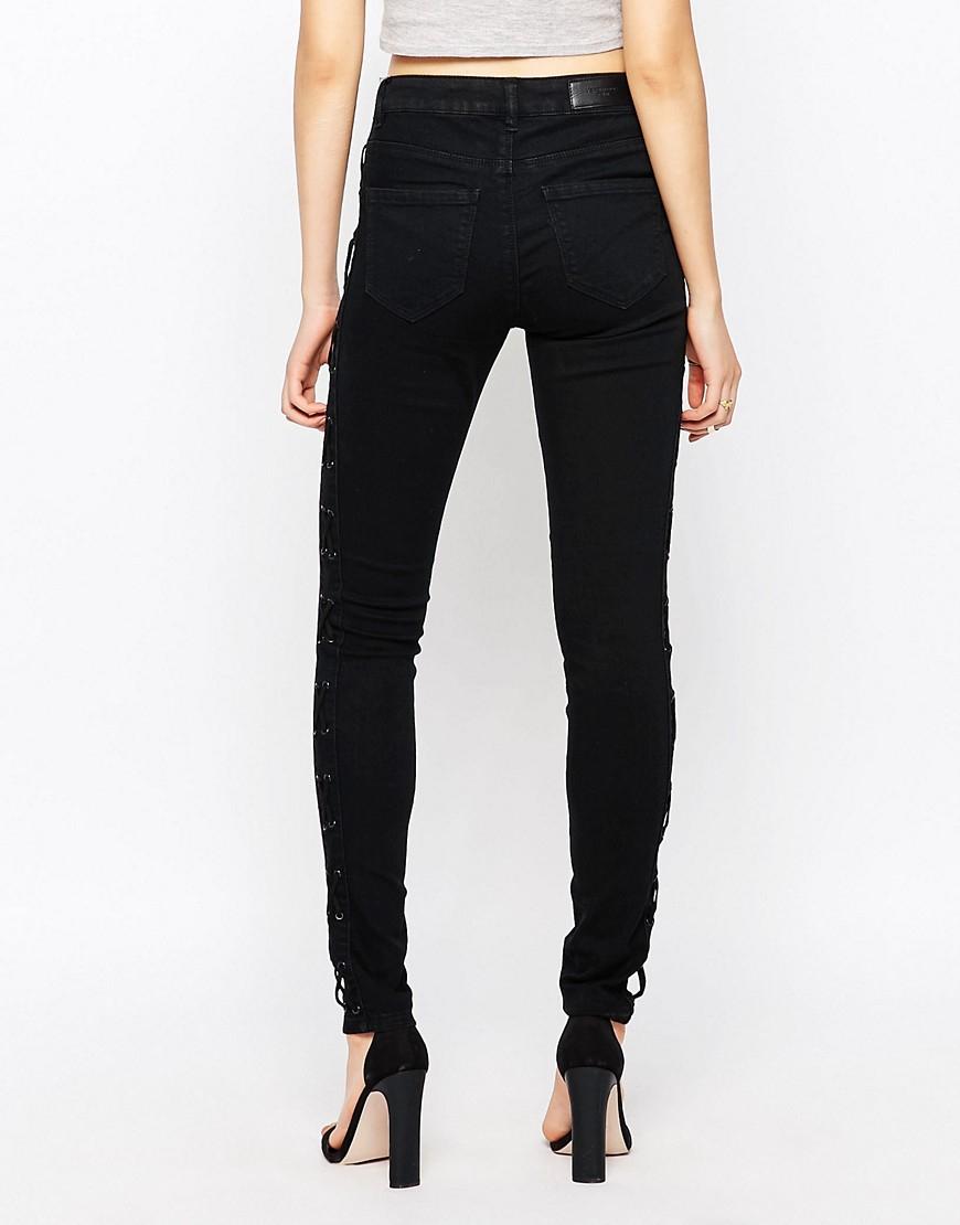 vero moda seven skinny jeans in black lyst. Black Bedroom Furniture Sets. Home Design Ideas