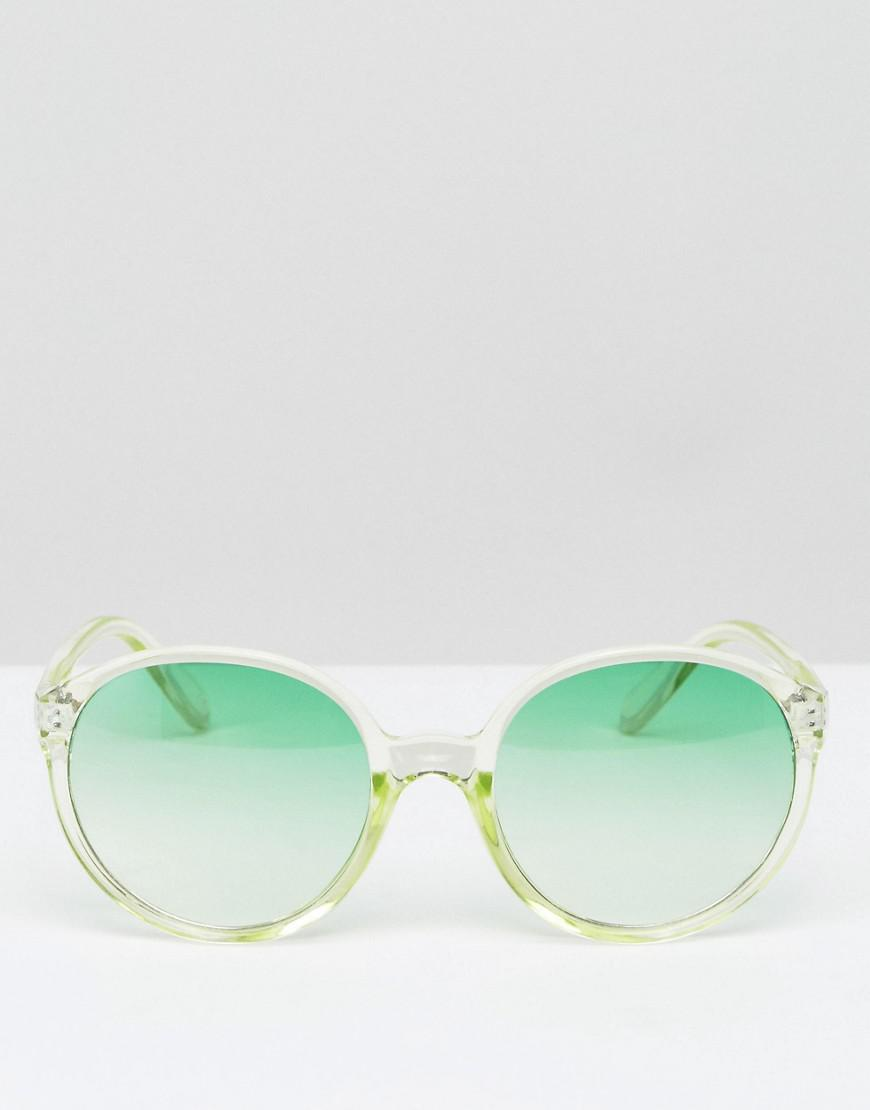 ASOS Denim Round Sunglasses With Clear Frame And Green Fade Lens for Men