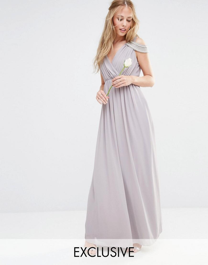 Tfnc london wedding cold shoulder wrap front maxi dress in for Cold shoulder dresses for wedding