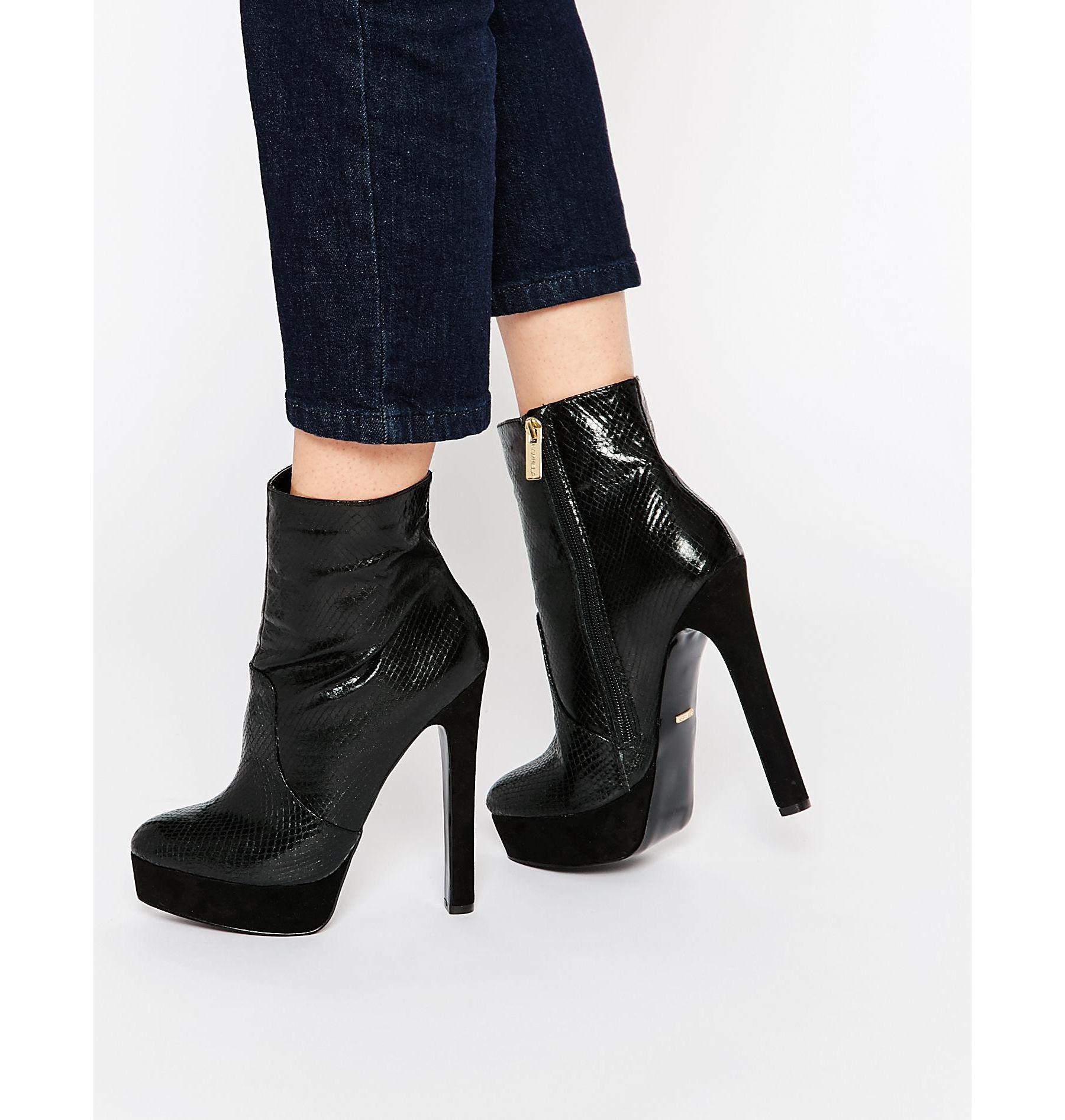 Buy Women Shoes / Carvela Sizzle Black Snake Effect Platform 70's Boots
