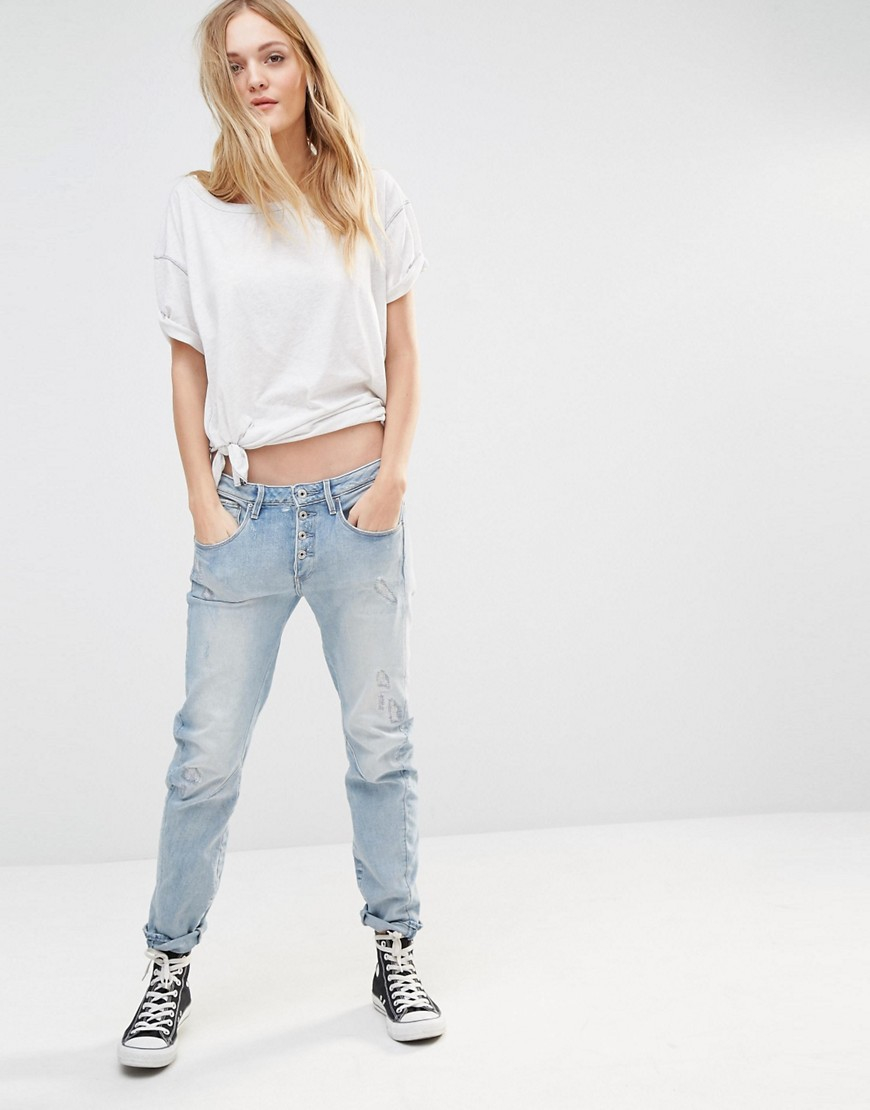 g star raw arc button low boyfriend jeans in blue lyst. Black Bedroom Furniture Sets. Home Design Ideas