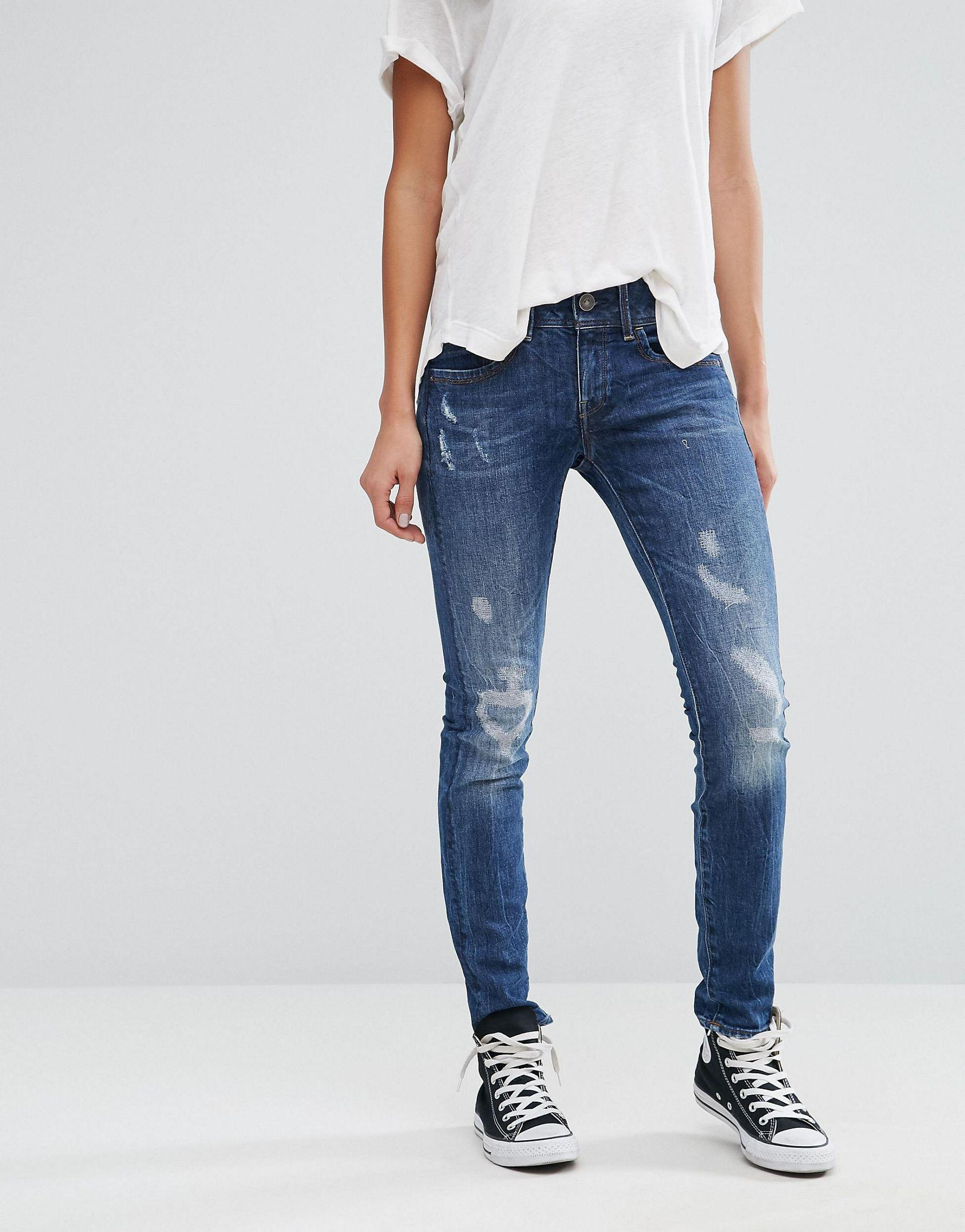 g star raw lynn mid rise skinny jeans in blue lyst. Black Bedroom Furniture Sets. Home Design Ideas
