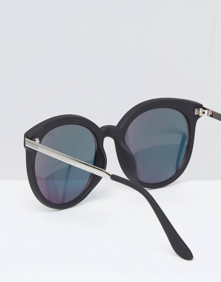 Quay X Chrisspy Jetlag Round Pink Mirror Sunglasses With Metal Arm - Black/pink Mirror