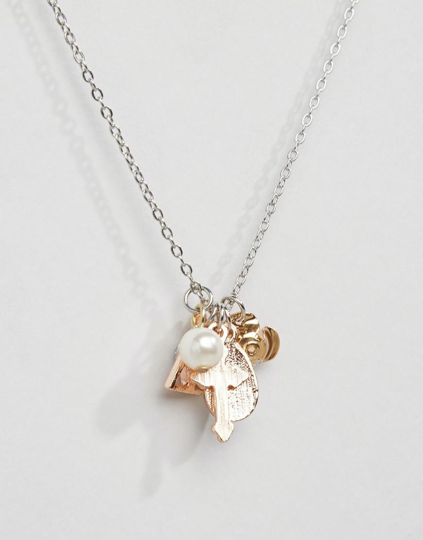 ASOS Synthetic Trinket Charm Necklace in Metallic