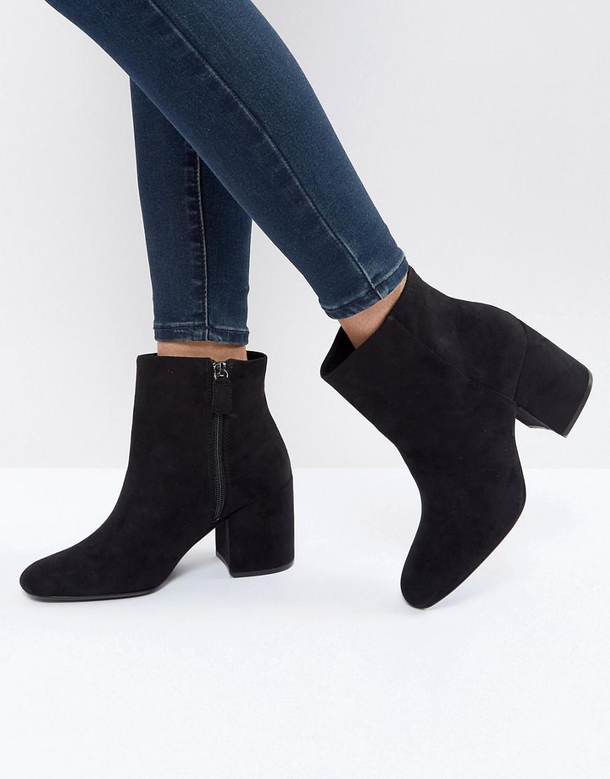 Lyst Bershka Suedette High Heeled Boot In Black