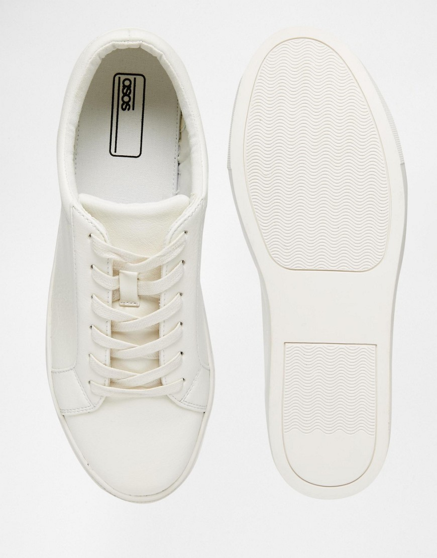 ASOS Leather Lace Up Sneakers In White