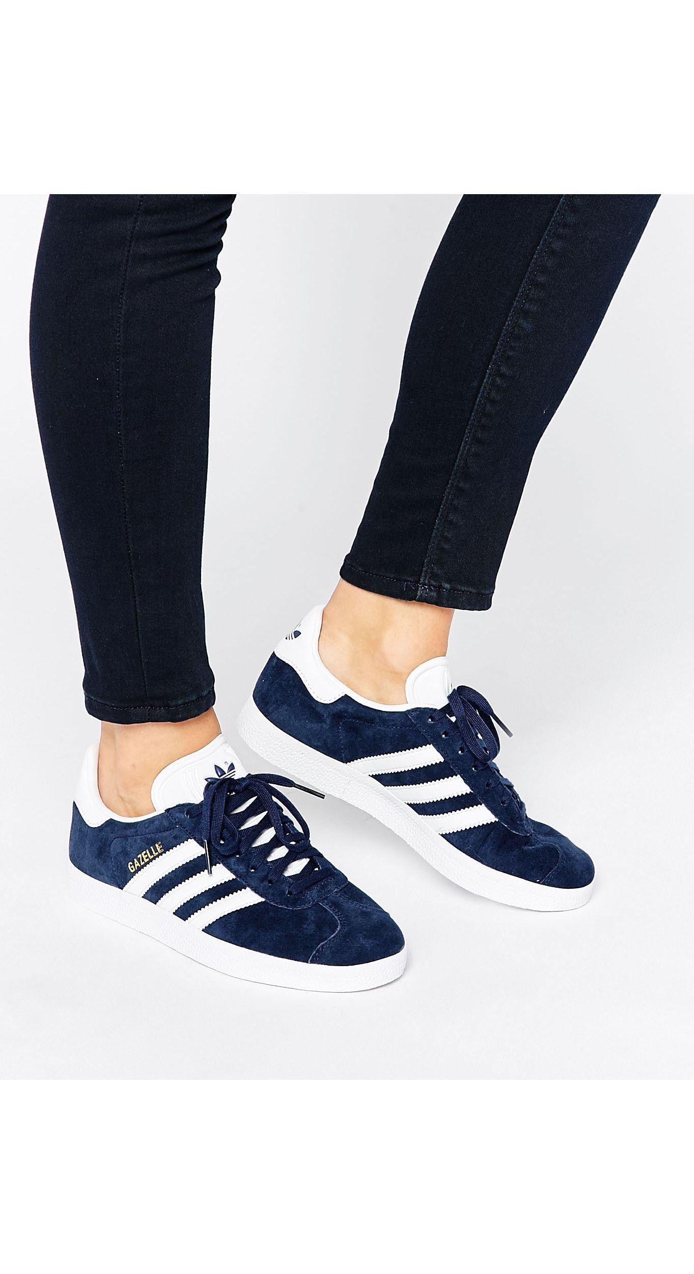adidas Originals Navy Suede Gazelle Sneakers in Blue - Save 41% - Lyst