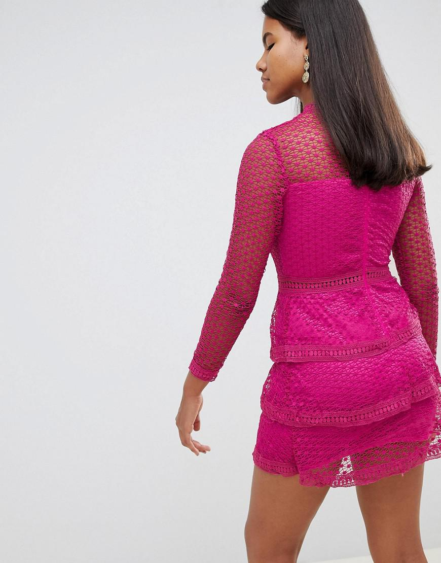 AX Paris Long Sleeve Crochet Lace Mini Dress With Tiered Skirt in Pink