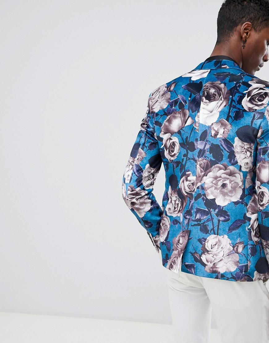 ASOS Fluweel Asos - Super Skinny Blazer Van Blauw Fluweel Met Bloemenprint in het Blauw voor heren