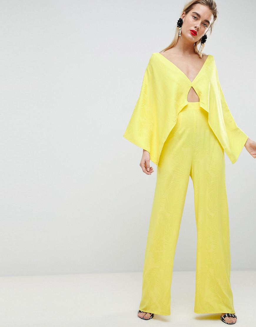 4cf9e58144a Lyst - ASOS Jumpsuit In Tropical Jacquard in Yellow