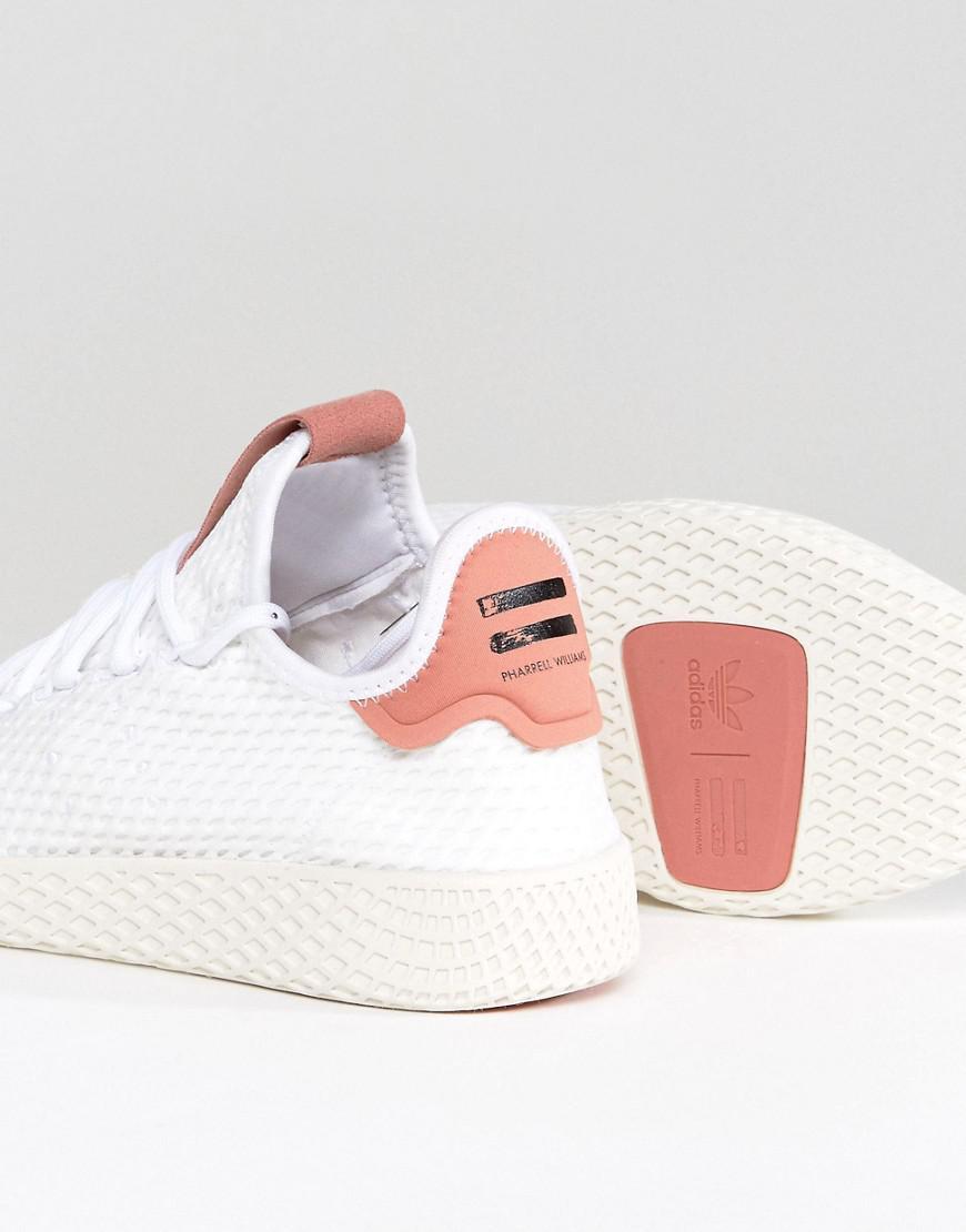 adidas Originals Originals X Pharrell Williams Tennis Hu Sneakers In White And Pink