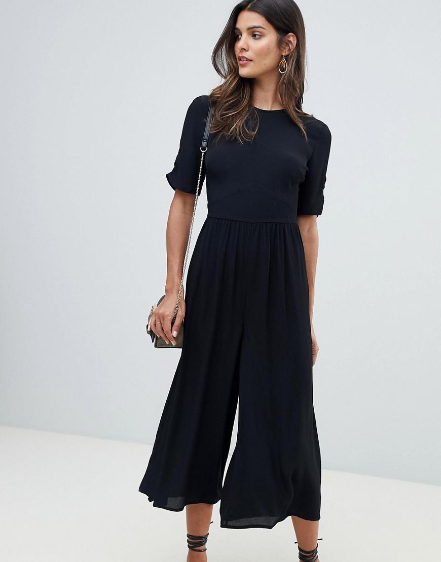 41ef581ecabf ASOS - Black Tea Jumpsuit With Ruched Sleeve Detail - Lyst. View fullscreen