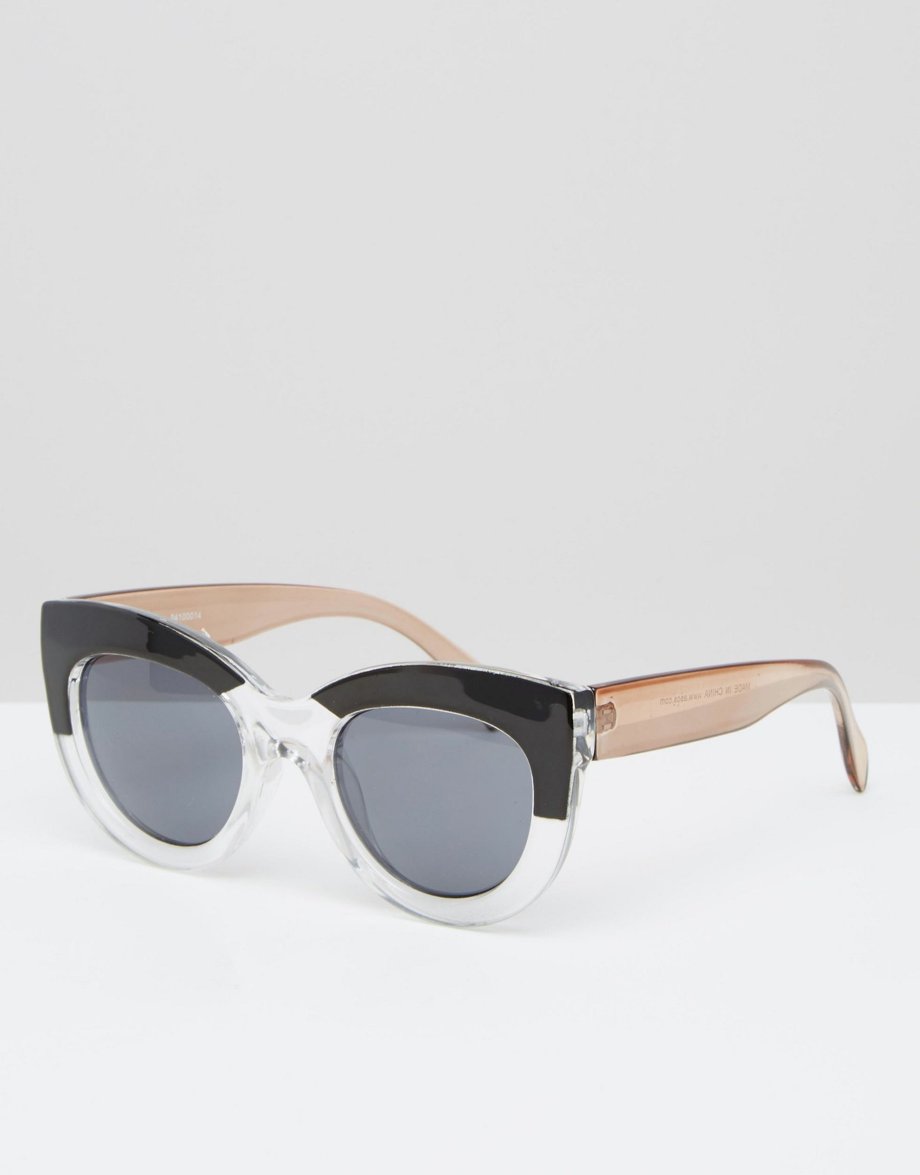 9bc31756f6 Lyst - ASOS Cat Eye Sunglasses In Chunky Frame And Mono Brow in Black