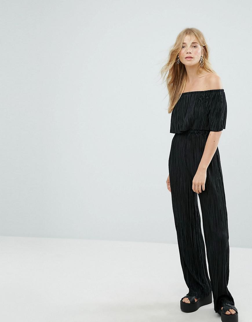 a65b923a49 Lyst - New Look Plisse Bardot Jumpsuit in Black