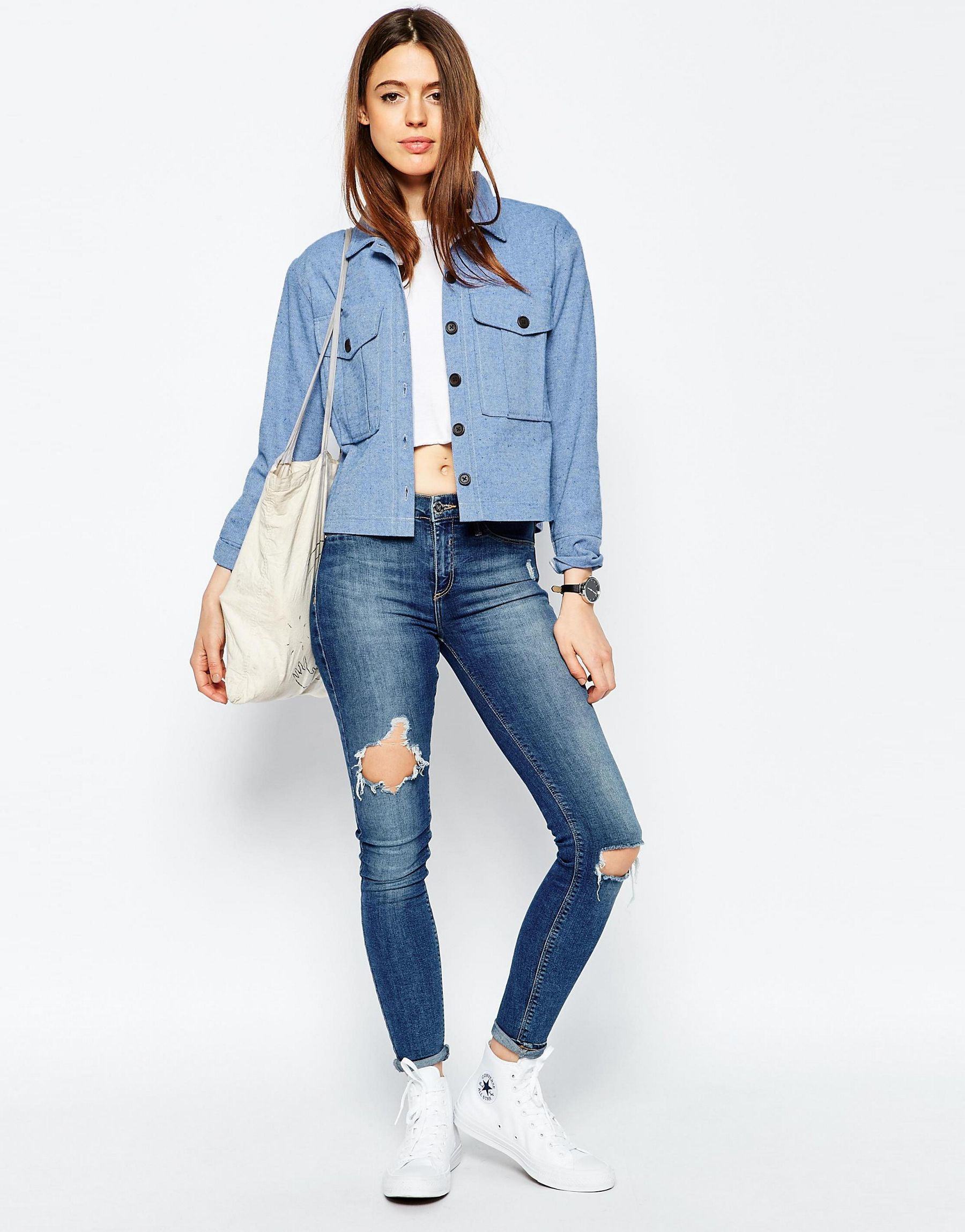 d2e8d36633 Lyst - ASOS Chambray Shacket With Button Detail in Blue
