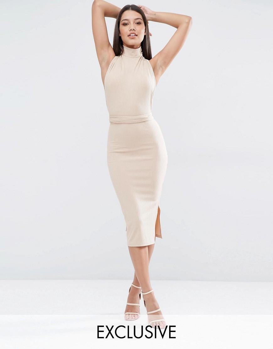 dc47ef9b8814 Lyst - Club L Multiway Rib Midi Dress in White