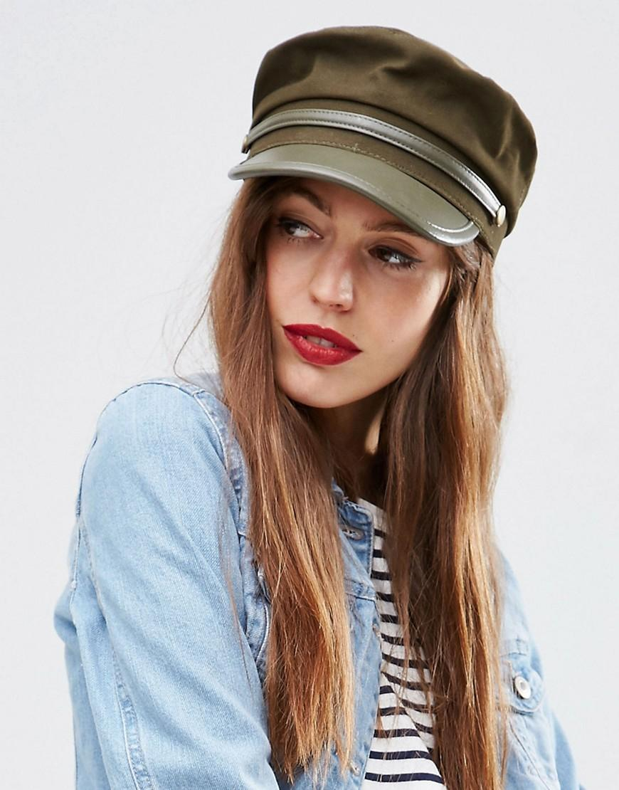 asos baker boy hat with pu brim in multicolour lyst