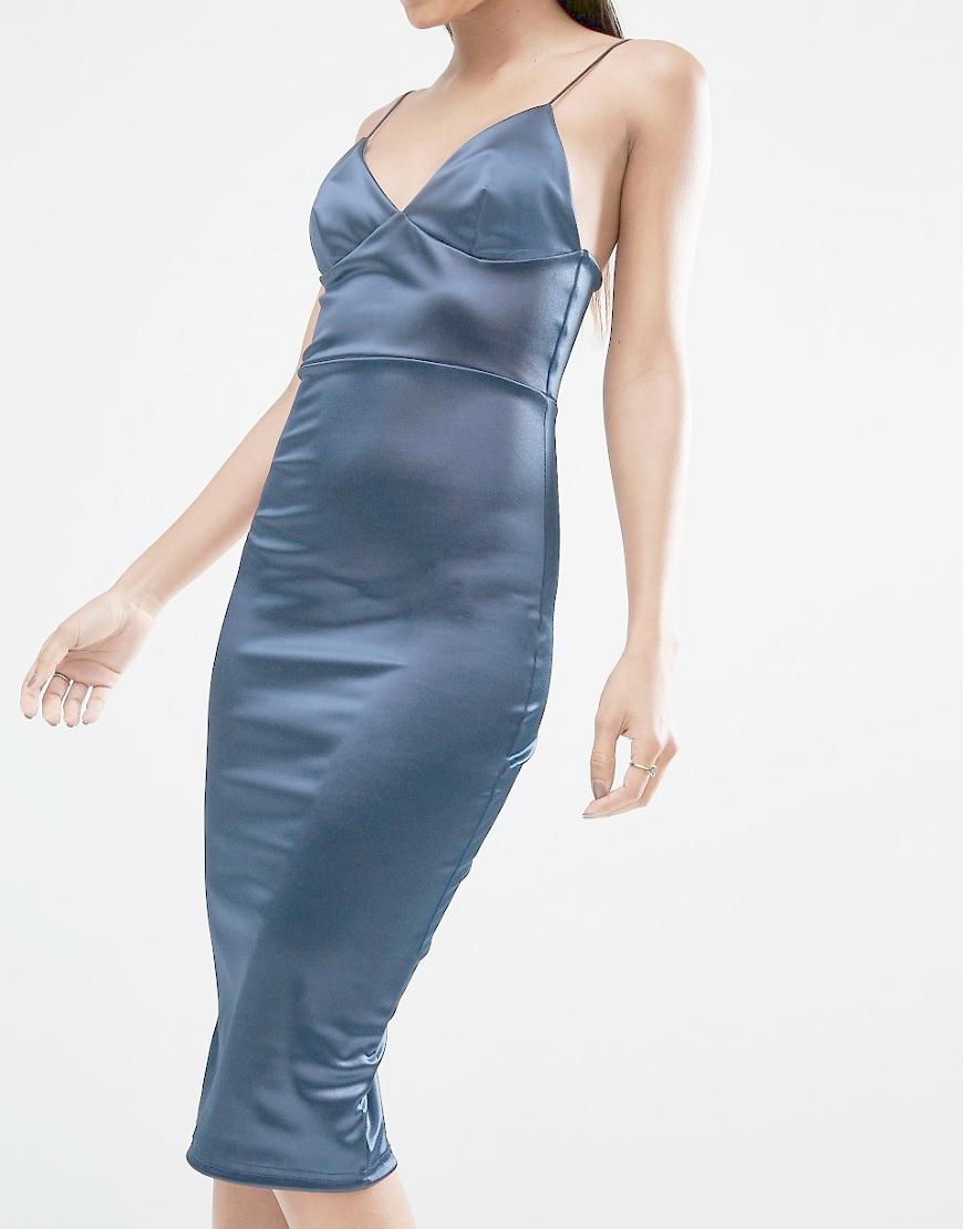 Club L Satin Cami Strap Midi Dress In Navy Blue Lyst