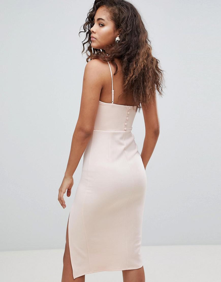 fc08bf043 ASOS Asos Design Tall Sequin Bra Top Midi Bodycon Dress in Pink - Lyst