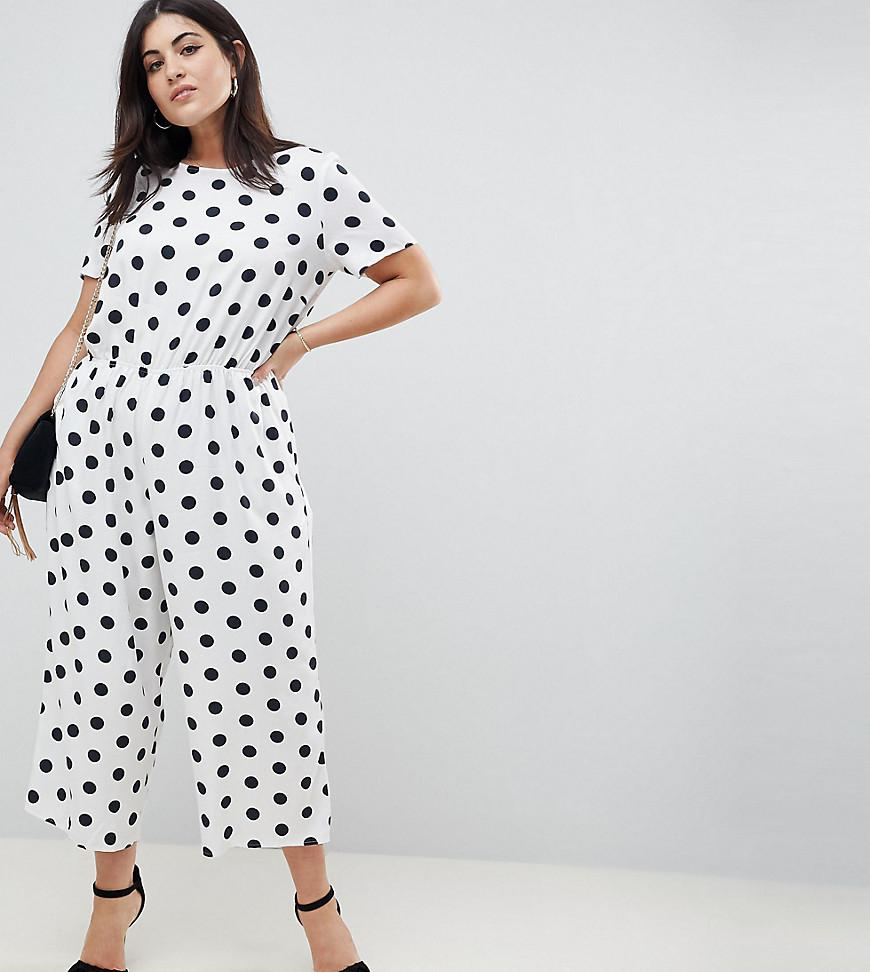 aa169698a88 Lyst - ASOS Asos Design Curve Spot Print Jumpsuit With Short Sleeve