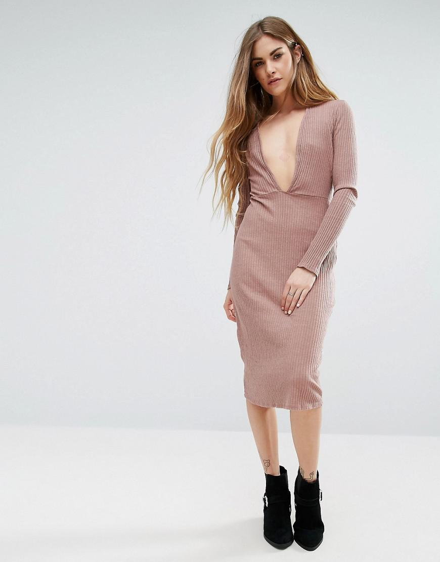 Long Sleeve Plunge Front Dress In Pink - Mauve NYTT 8P4CrwMs