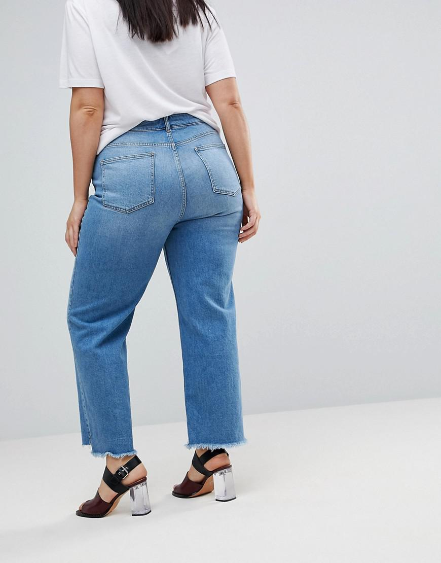 ASOS Denim Farleigh Straight Leg Jeans With Seamed 80s Detail in Blue