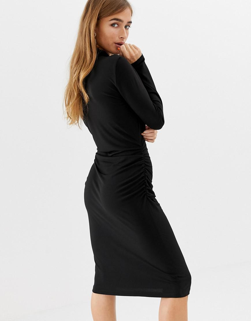 ac51cb3dc2 Vero Moda Slinky Bodycon Roll Neck Mini Dress In Black in Black - Lyst