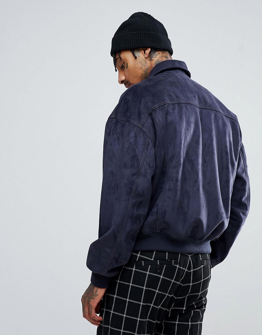 ASOS Denim Oversized Faux Suede Harrington Jacket In Navy in Blue for Men