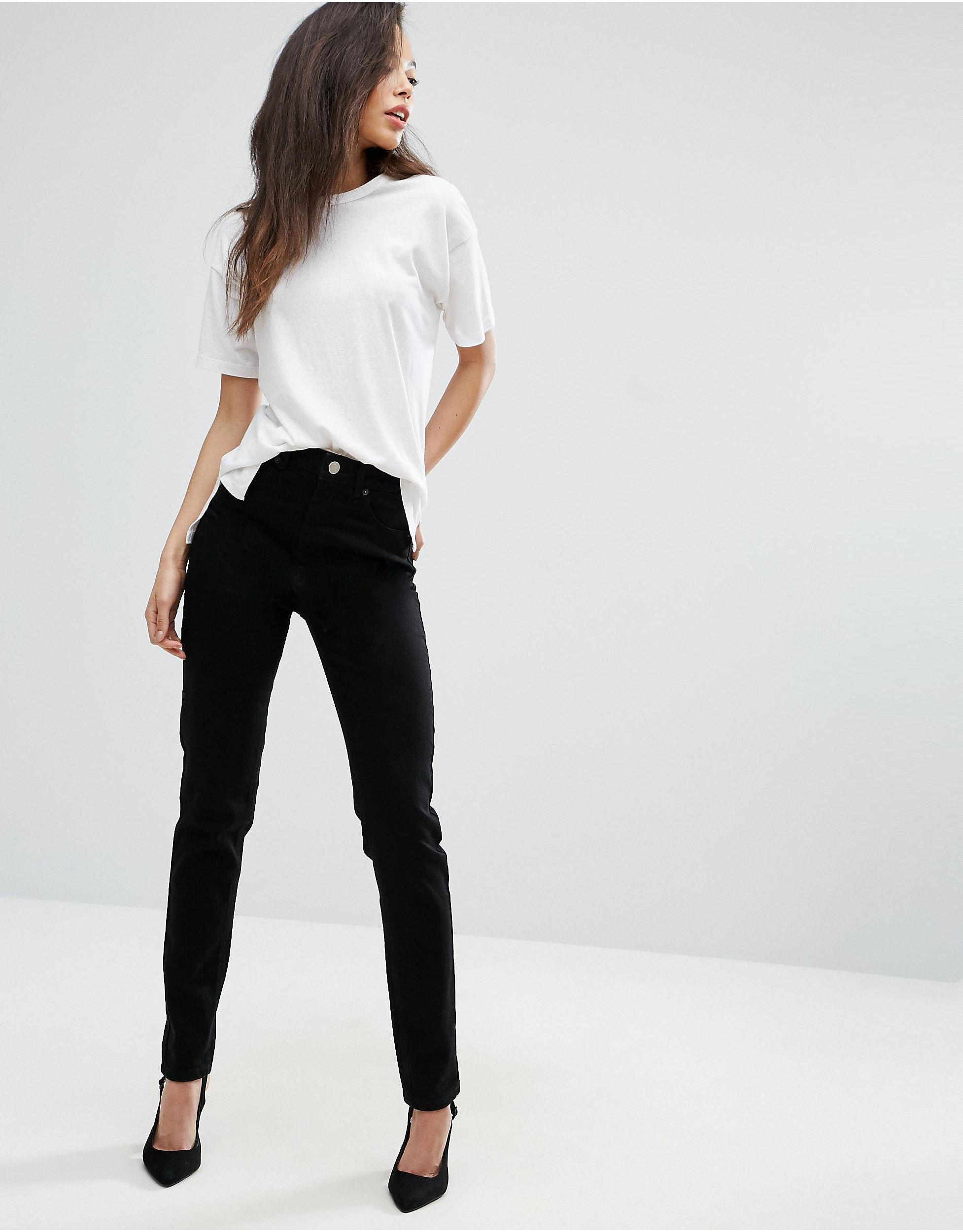 ASOS Denim Tall Farleigh High Waist Slim Mom Jeans In Clean Black