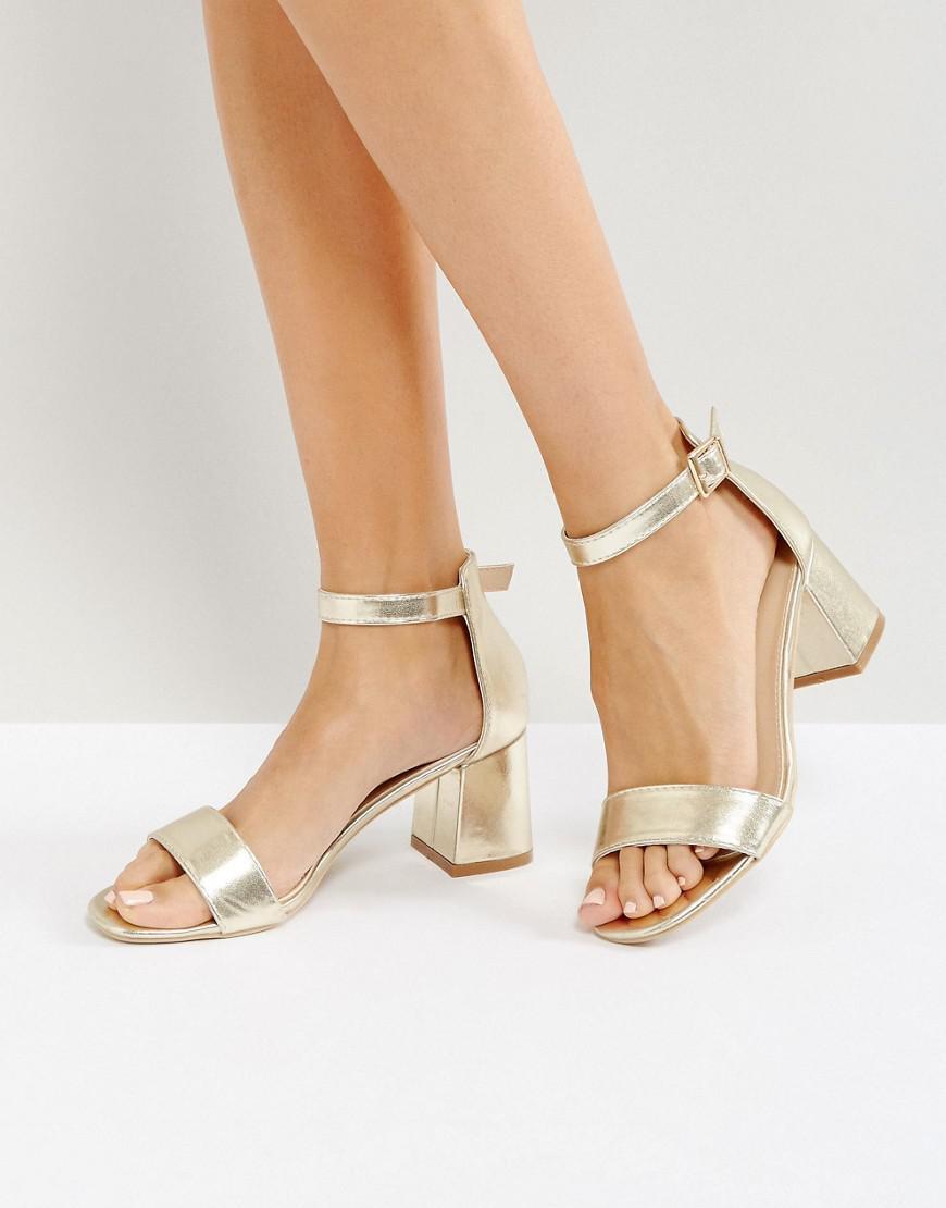 Gold Block Heel Sandals - Gold Glamorous z3dljOdam5