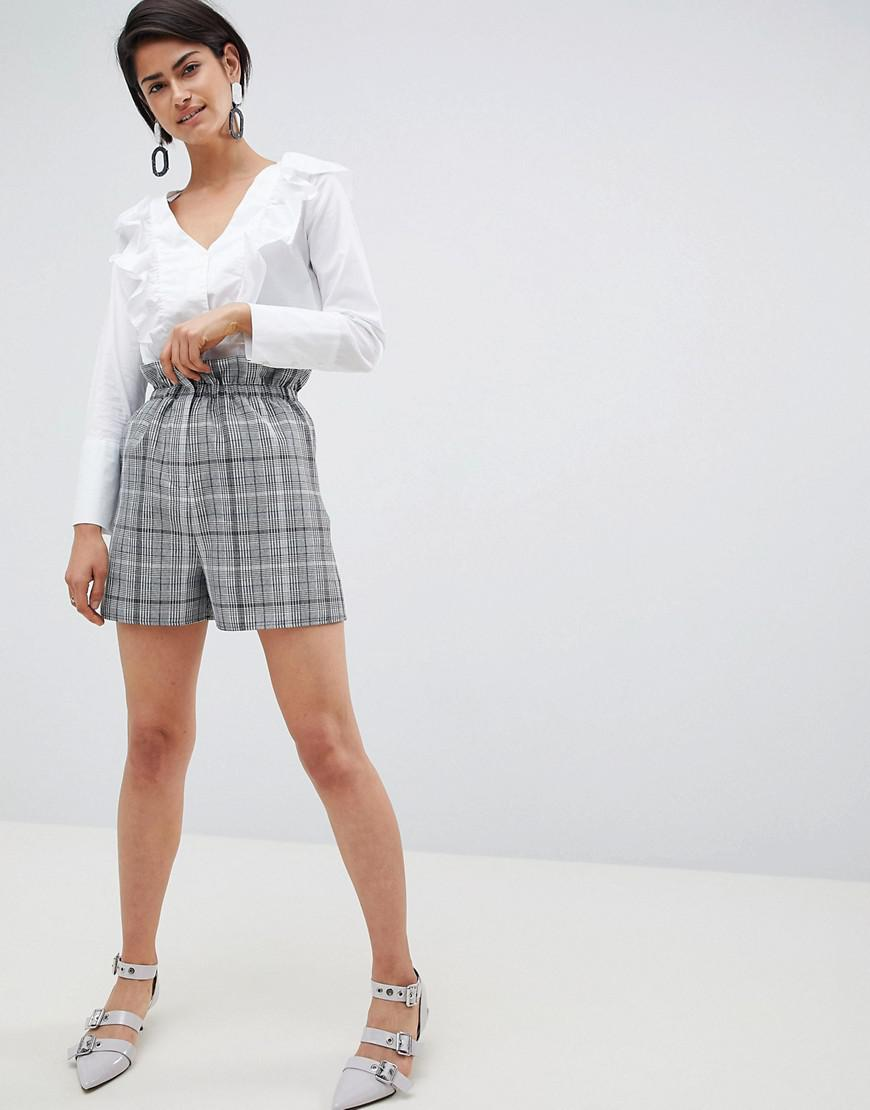 Free Shipping Fake Shop Your Own DESIGN tailored check short with paperbag waist - Check Asos Pictures Cheap Online Enjoy Cheap Online Free Shipping Fast Delivery U77Z2IZK8