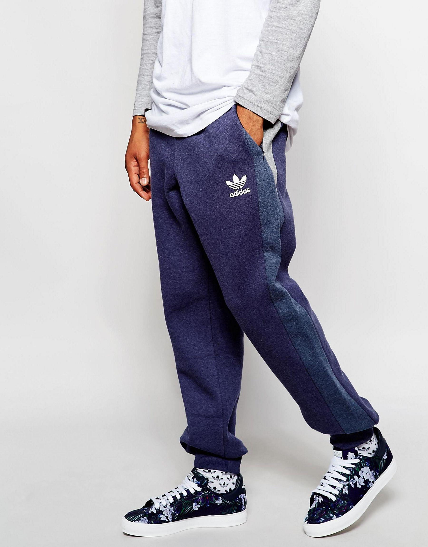 d0d1fc65772d Lyst - adidas Originals Skinny Trackpants With Panels in Blue for Men