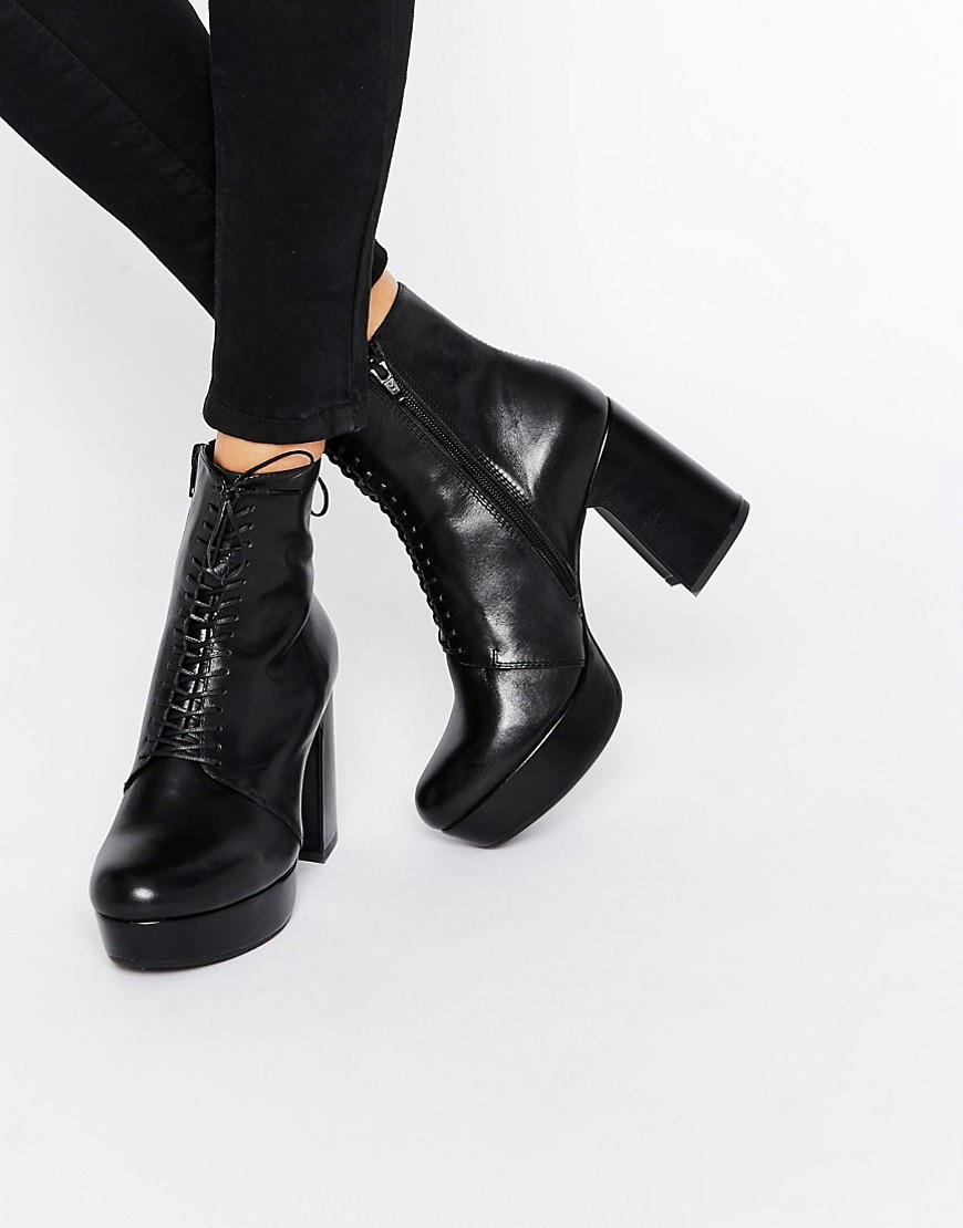 Danila Black Heeled Lace Up Ankle Boots