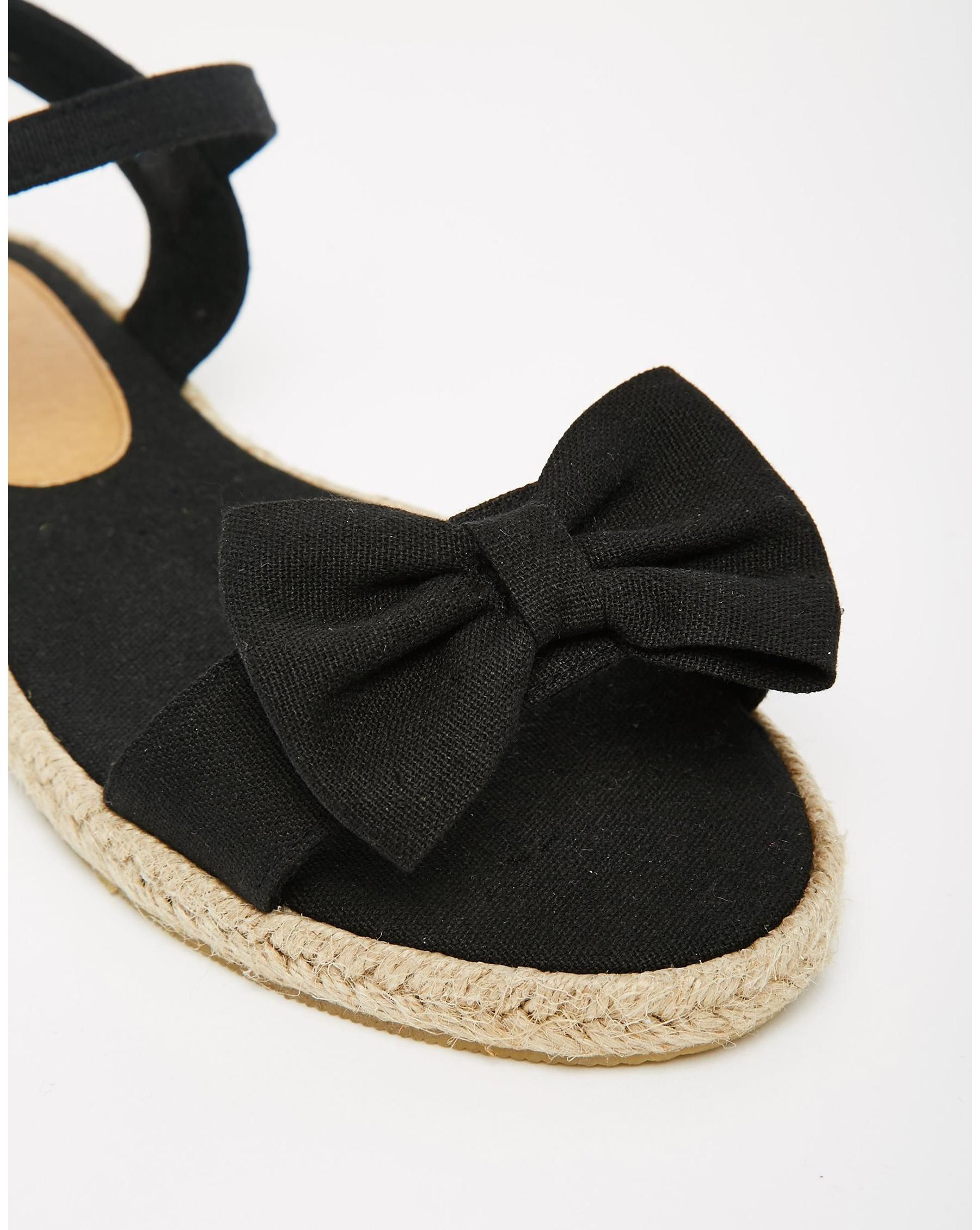9b4a098d3 Lyst - ASOS Juno Espadrille Bow Sandals - Black in Black