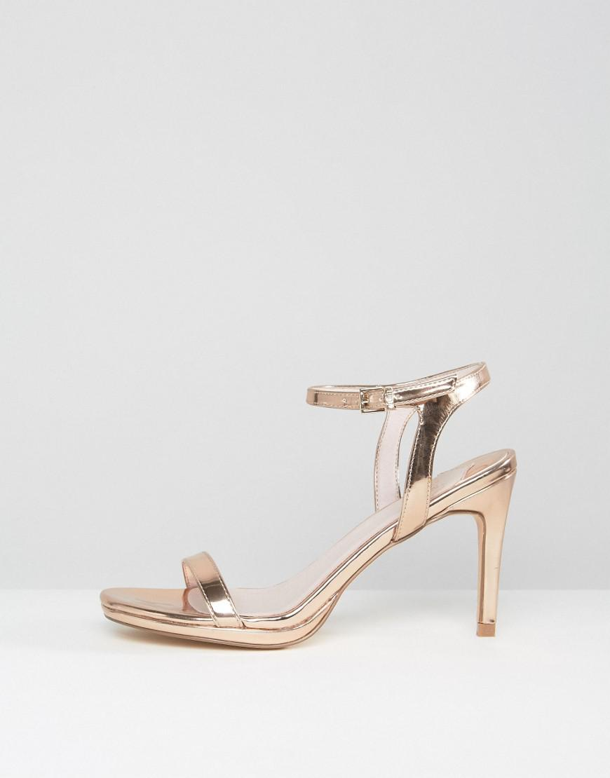 Lyst Faith Dolly Rose Gold Heeled Sandals In Metallic