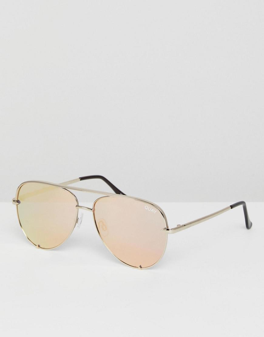 a5d0012866 Lyst - Quay X Desi High Key Mini Aviator Sunglasses In Gold in ...
