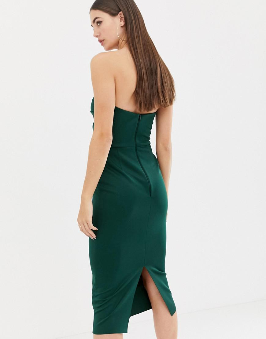 a70d48ee31dc Asos Asos Design Tall Seamed Bandeau Midi Bodycon Dress in Green - Lyst
