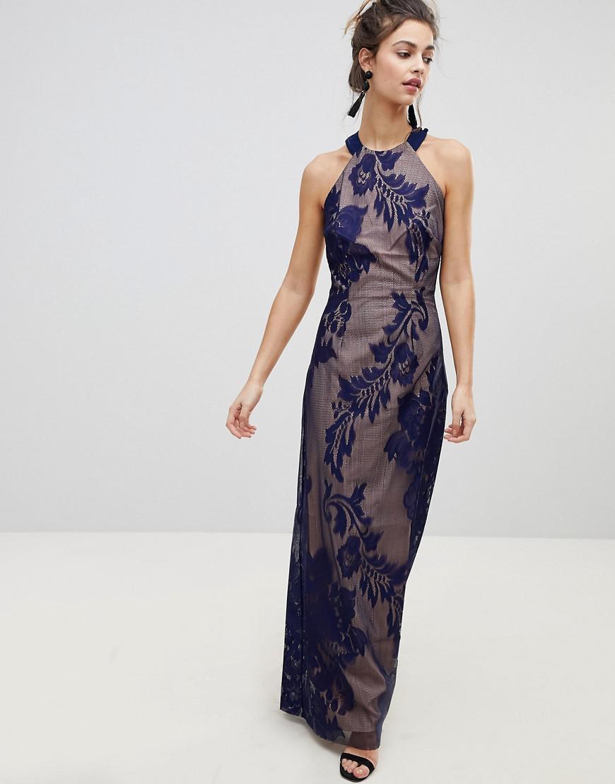 153fd368af Little Mistress Embellished High Neck Maxi Dress in Blue - Save 21 ...
